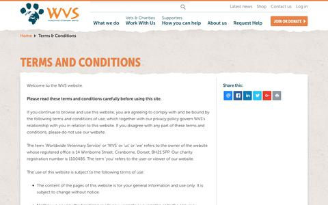 Screenshot of Terms Page wvs.org.uk - Terms and Conditions | WVS | Worldwide Veterinary Service - captured Dec. 3, 2018