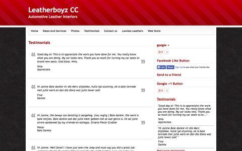 Screenshot of Testimonials Page webs.com - Testimonials - Leatherboyz CC - captured Sept. 13, 2014