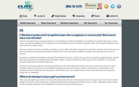 Screenshot of FAQ Page eliteky.com - FAQ | Elite Insurance Agency - captured Oct. 6, 2014