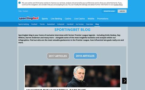 Screenshot of Blog sportingbet.com - Football Interviews and Sports Infographics | Sportingbet Blog - captured Sept. 21, 2018