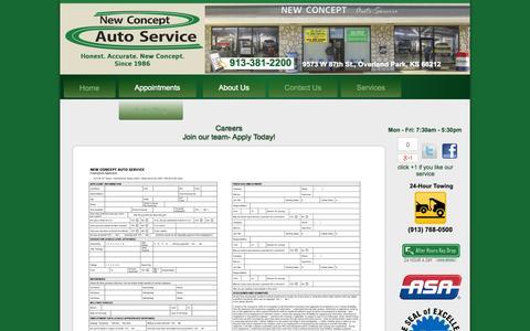 Screenshot of Jobs Page newconceptauto.com - New Concept Auto Service | Auto Repair Overland Park KS | Engine Repair Johnson County KS | Brake Repair 66212 | Transmission Repair 66061 | Auto Electrical Service Overland Park KS - captured Oct. 26, 2014