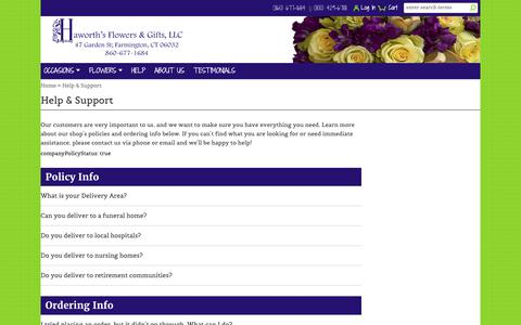 Screenshot of FAQ Page haworthsflowers.com - Help with your flower delivery - Haworth's Flowers & Gifts, LLC. - Farmington, CT - captured Dec. 14, 2018