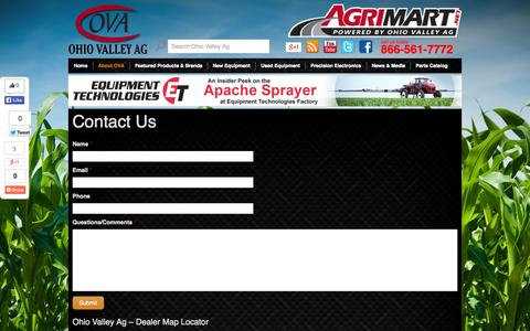 Screenshot of Contact Page ohiovalleyag.com - Contact Us | Ohio Valley Ag - captured Oct. 7, 2014