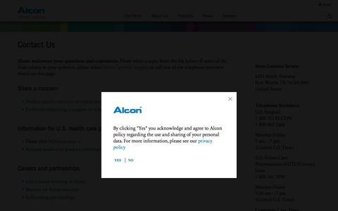 Screenshot of Contact Page alcon.com - Contact Us | Alcon: Developing innovative eye care treatments - captured July 9, 2016