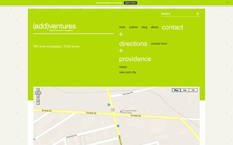 Screenshot of Maps & Directions Page addventures.com - Providence Office | (add)ventures - a multidisciplinary digital brand communications firm | providence + miami + nyc + argentina + estonia - captured Oct. 7, 2014