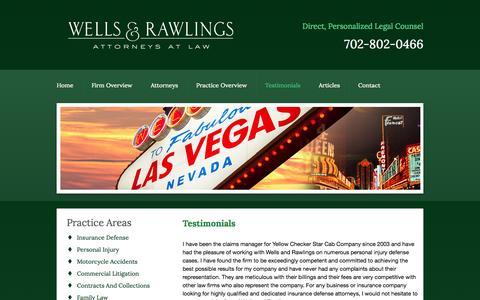 Screenshot of Testimonials Page wellsrawlings.com - Testimonials | Wells & Rawlings | Las Vegas - captured Oct. 26, 2014