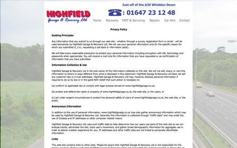Screenshot of Privacy Page highfieldgarage.co.uk - Highfield Garage & Recovery LTD - captured Oct. 27, 2014