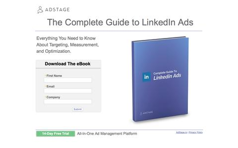 Screenshot of Landing Page pardot.com - The Complete Guide to LinkedIn Ads - captured Aug. 19, 2016