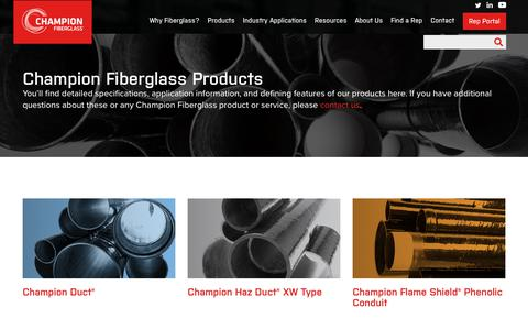 Screenshot of Products Page championfiberglass.com - Industries and Applications - captured Sept. 23, 2018