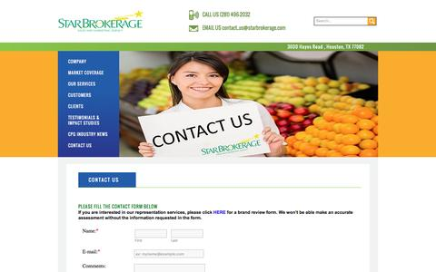 Screenshot of Contact Page starbrokerage.com - Star Brokerage | sales, marketing, and retail services - captured Dec. 2, 2016