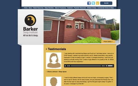 Screenshot of Testimonials Page barkersleep.com - Testimonials - Barker Sleep - captured Oct. 10, 2017