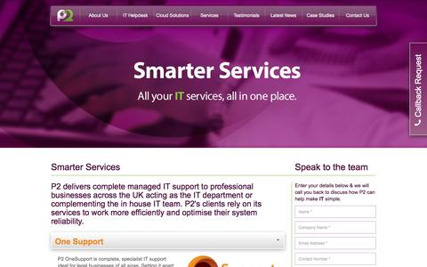 Screenshot of Services Page p2tech.co.uk - Services - P2 Technologies, providing IT helpdesk and cloud solutions across Yorkshire and the North West | P2 Technologies - captured Jan. 21, 2016