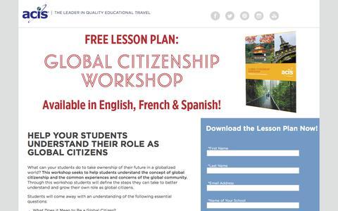 Screenshot of Landing Page acis.com - Global Citizenship Lesson Plan Workshop - captured Sept. 19, 2018