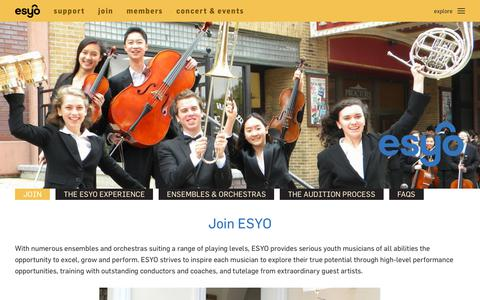 Screenshot of Signup Page esyo.org - JOIN - Empire State Youth Orchestra - captured Oct. 9, 2018