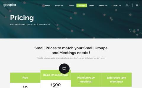Screenshot of Pricing Page groupize.com - Pricing – Groupize - captured July 4, 2016
