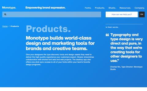 Screenshot of Products Page monotype.com - Products for branding | Monotype - captured Nov. 6, 2019