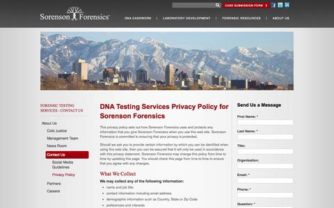 Screenshot of Privacy Page sorensonforensics.com - Privacy Policy | Contact Us | About Us | Sorenson Forensics - captured Sept. 30, 2014