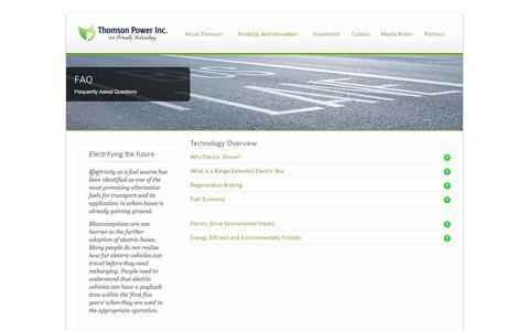 Screenshot of FAQ Page thomsonpower.com - Thomson Power |  FAQ - captured Oct. 9, 2014