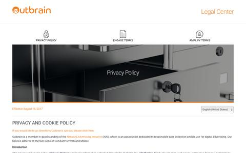 Screenshot of Privacy Page outbrain.com - Outbrain Inc. Legal Center - captured March 9, 2018