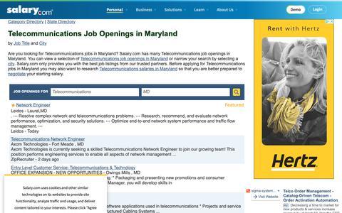 Screenshot of Jobs Page salary.com - Telecommunications Job Openings in Maryland | Salary.com - captured Oct. 26, 2018