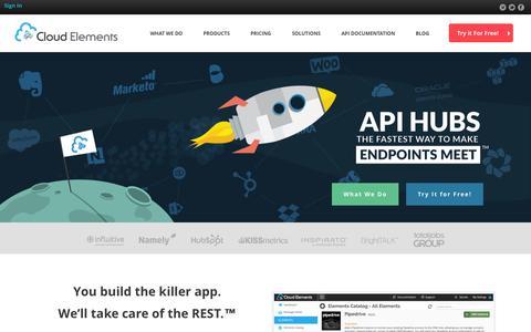 Screenshot of Home Page cloud-elements.com - API Management & Integration Platform | Cloud Elements - captured Oct. 23, 2015