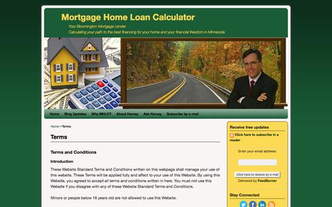 Screenshot of Terms Page mortgage-home-loan-calculator.com - Terms and Conditions - Mortgage Home Loan Calculator - captured June 13, 2017