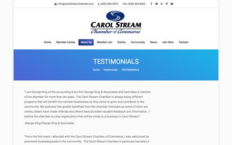 Screenshot of Testimonials Page carolstreamchamber.com - TESTIMONIALS – Carol Stream Chamber of Commerce - captured July 15, 2017