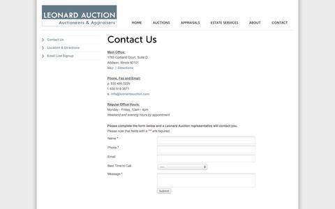 Screenshot of Contact Page leonardauction.com - Contact Leonard Auction - captured Nov. 1, 2014