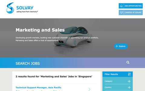 Screenshot of Jobs Page solvay.com - Marketing and Sales Jobs in Singapore at Solvay | Careers at Solvay - captured Dec. 29, 2017
