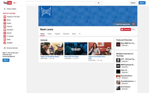 Screenshot of YouTube Page youtube.com - Mask Lewis  - YouTube - captured Oct. 26, 2014