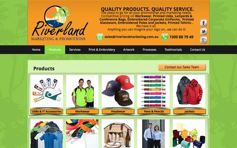 Screenshot of Products Page riverlandmarketing.com.au - Promotional Products & Clothing - captured Dec. 1, 2016