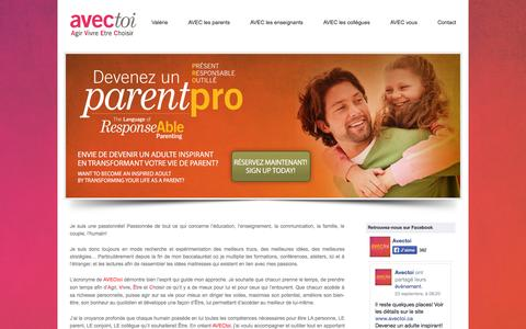 Screenshot of Home Page avectoi.ca - AVECtoi.ca   Conférences   Formations   Coaching   - captured Sept. 30, 2014