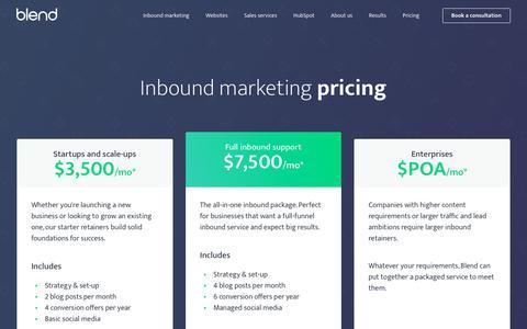 Screenshot of Pricing Page blendb2b.com - Inbound Marketing Pricing | Inbound Agency Pricing - captured June 28, 2019