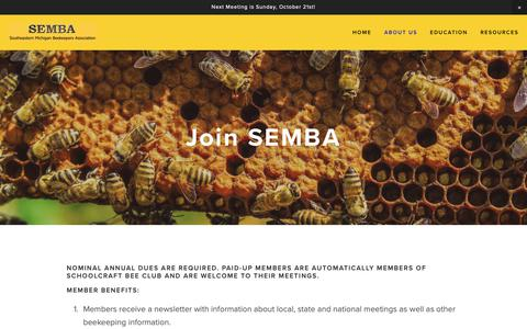 Screenshot of Signup Page sembabees.org - Join — Southeastern Michigan Beekeepers Association - captured Oct. 29, 2018