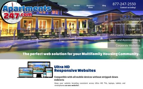Screenshot of Home Page Products Page apartments247.com - Apartments247 : Apartment Website Marketing for the MultiFamily Housing Industry - captured Oct. 4, 2014
