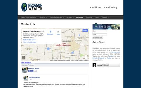 Screenshot of Contact Page hexagonwealth.com - Contact Us : Hexagon Wealth - captured Oct. 2, 2014