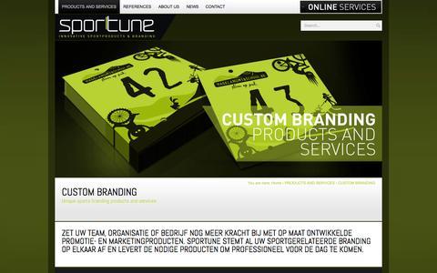 Screenshot of Services Page sportune.com - CUSTOM BRANDING - captured Oct. 6, 2014