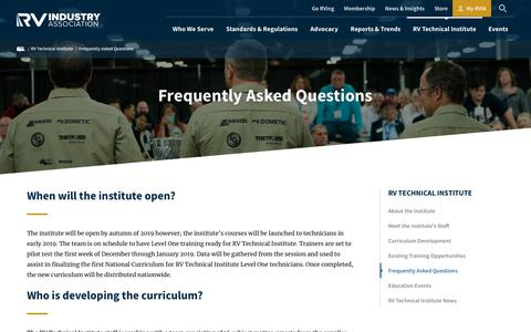 Screenshot of FAQ Page rvia.org - Frequently Asked Questions   RVIA - captured Dec. 18, 2018