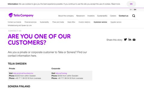 Screenshot of Support Page teliacompany.com - Are you one of our customers? - Telia Company - captured May 6, 2017