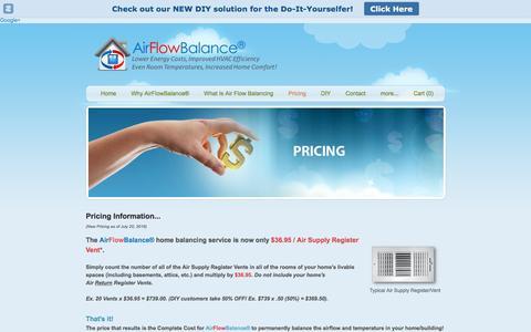 Screenshot of Pricing Page airflowbalance.com - Pricing - AirFlowBalance - captured Nov. 20, 2016
