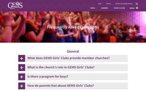 Screenshot of FAQ Page gemsgc.org - FAQ   GEMS - captured Oct. 6, 2016