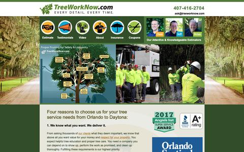 Screenshot of Home Page treeworknow.com - Orlando Tree Service : Tree Removal Orlando : Tree Service Orlando : Tree Trimming Orlando - captured Nov. 18, 2018