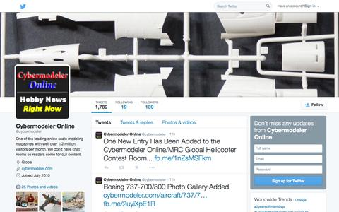 Screenshot of Twitter Page twitter.com - Cybermodeler Online (@cybermodeler) | Twitter - captured Nov. 2, 2014