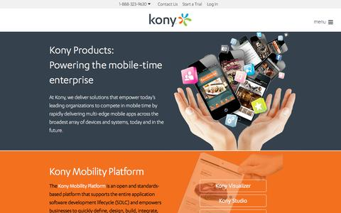 Screenshot of Products Page kony.com - Products | Kony - captured Oct. 1, 2015