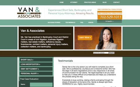 Screenshot of Testimonials Page thenvfirm.com - Testimonials | Las Vegas Short Sale Lawyer | Nevada Real Estate Lawyer - captured Oct. 1, 2014