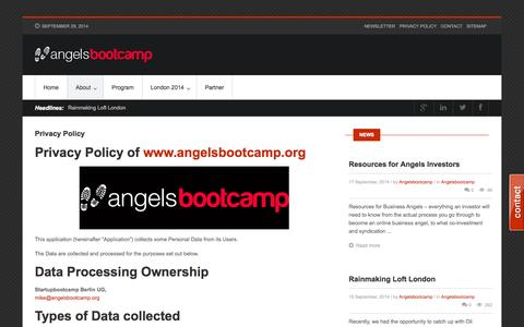 Screenshot of Privacy Page angelsbootcamp.org - Privacy Policy - Angelsbootcamp - captured Sept. 30, 2014