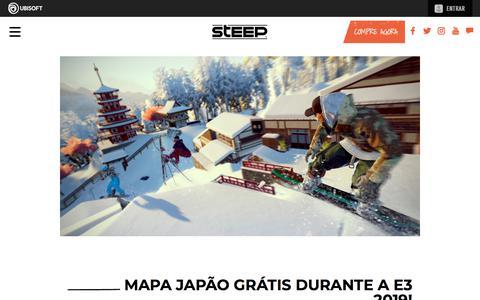Screenshot of Press Page ubisoft.com - Mapa Japão grátis durante a E3 2019!  | Steep - Disponível agora para PS4, Xbox One & PC | Ubisoft (BR) - captured Nov. 8, 2019
