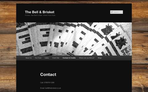 Screenshot of Contact Page wordpress.com - Contact  | The Bell & Brisket - captured Sept. 12, 2014