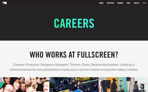 Screenshot of Jobs Page fullscreen.com - Careers - Fullscreen - captured Dec. 28, 2015