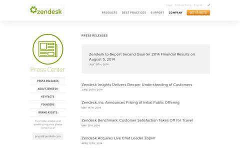 Screenshot of Press Page zendesk.com - Press Releases & Announcements | Zendesk - captured July 21, 2014
